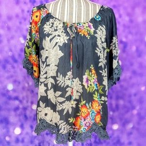 Johnny Was Silk Blend Peasant Blouse